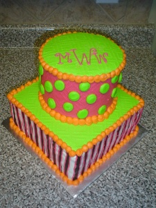 Polka Dot Monogram Cake